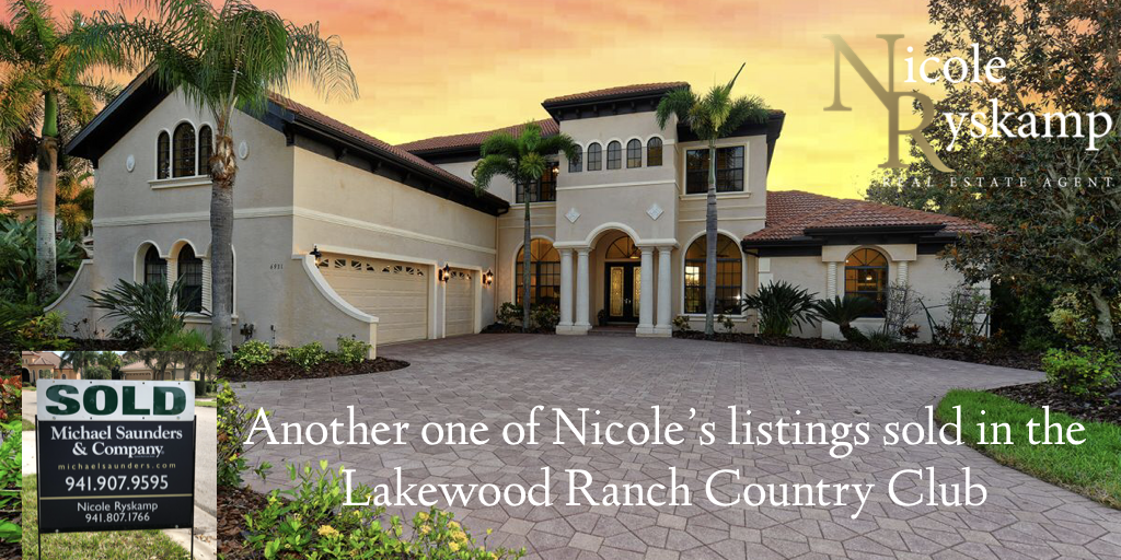 Nicole Ryskamp's listing in the Lakewood Ranch Country Club sells